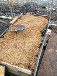 mixing beer mash and worm soil