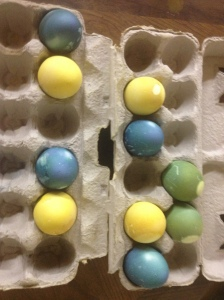 green, yellow and blue dyed eggs