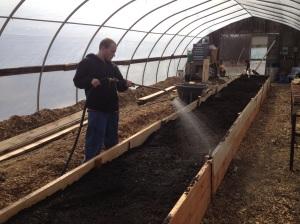 watering soil