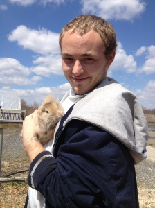 student holding a bunny