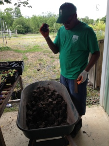 student recycling soil