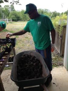 horticulture student reusing soil