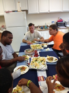 students eating nachos with pico de gallo salsa