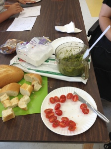 basil, tomatoes and bread